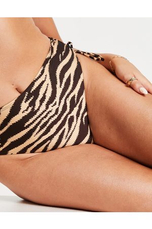 Topshop Tiger print ruched high waisted bikini bottoms in