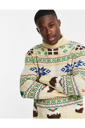 Another Influence Festive print jumper in -Neutral
