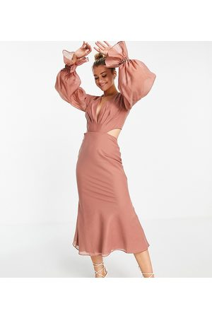 ASOS ASOS DESIGN Tall pleated midi dress with blouson sleeve and cuff detail-Pink