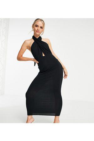 ASOS ASOS DESIGN Petite halter cross front maxi dress in