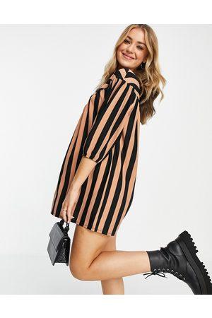 ASOS Long sleeve smock dress in brown and black stripe