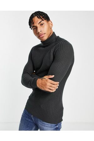 ASOS Muscle fit textured knit roll neck jumper in -Grey