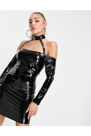 ASOS Halloween strappy PU mini dress in