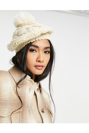 Urban Code Cable knit beret in -Pink