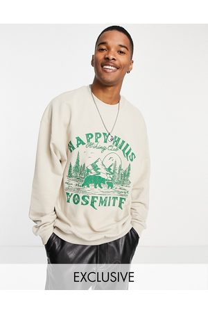 Reclaimed Inspired oversized organic cotton sweatshirt with happy hills print in -Neutral