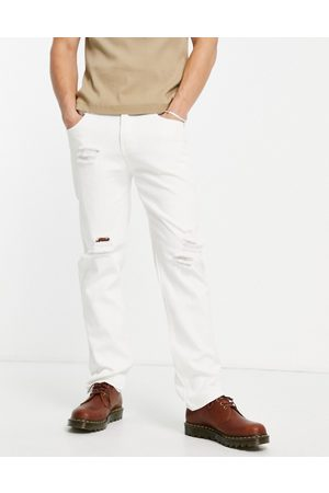 Liquor N Poker Co-ord straight leg jeans in off denim with distressing