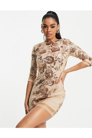 TFNC Floral sequin mini dress in pink-Gold