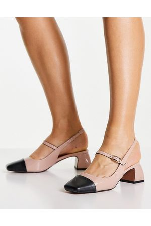 ASOS Syon mary jane mid heeled shoes in beige-Neutral