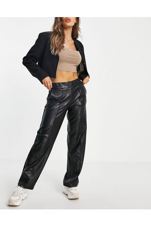 Pieces Leather look wide leg pants in