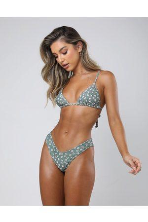 Kulani Kinis V high leg bikini bottom in ditsy print
