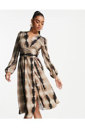 Liquorish Wrap dress in mixed animal print