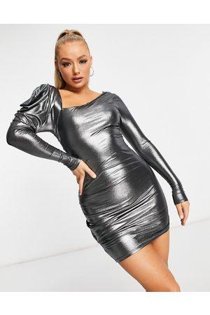 ASOS Asymmetric fallen shoulder ruched mini dress in metallic