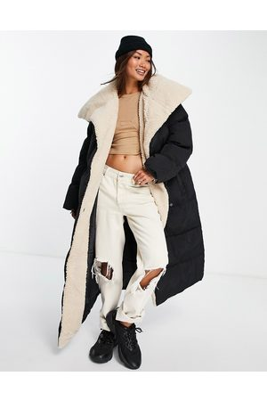 ASOS Borg collared belted maxi puffer jacket in