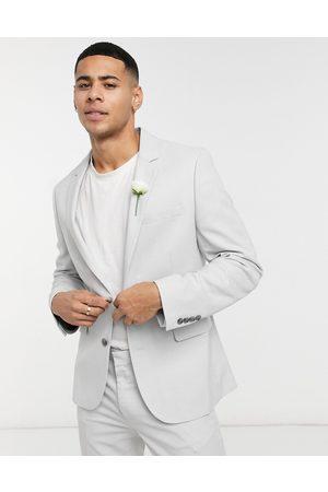 ASOS Wedding super skinny suit jacket in ice micro texture