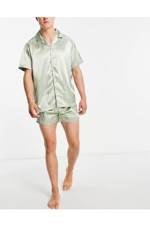 ASOS Satin shirt and shorts pyjama set in green