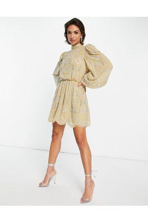 ASOS Pretty embellished mini skater dress in -Yellow