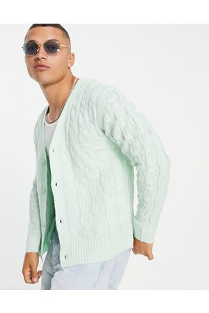 Another Influence V neck cable knit cardigan in -Green