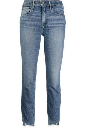 3x1 High-waisted distressed cropped jeans
