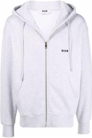 Msgm Men Hoodies - Logo-print drawstring hoodie