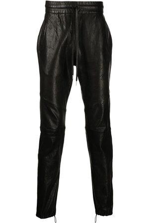 JOHN ELLIOTT Men Leather Pants - Drawstring leather trousers