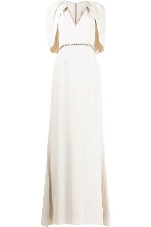 Jenny Packham Women Evening Dresses - Crystal-trim cape-style gown