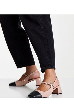 ASOS Women Heels - Wide Fit Syon Mary Jane mid-heeled shoes in beige-Neutral