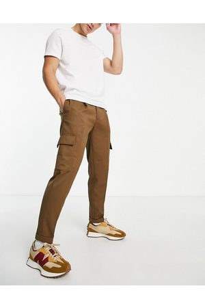 Topman Tapered twill cargo pants in -Green