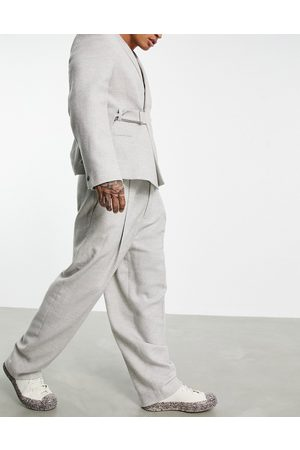ASOS Men Formal Pants - High-waisted balloon wool-mix twill suit pants in