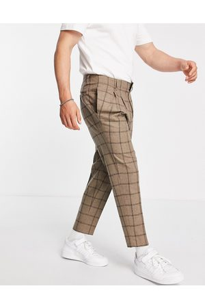 ASOS Men Chinos - Tapered cropped wool-mix smart pants in check-Neutral