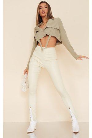 PRETTYLITTLETHING Women Skinny Pants - Cream Split Hem Faux Leather Skinny Pants