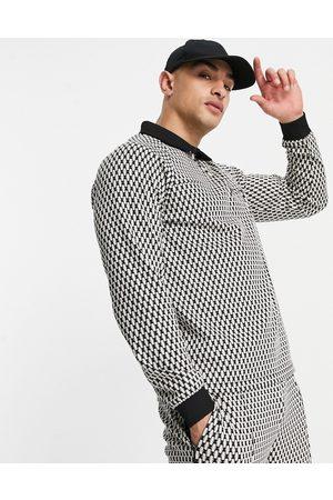 ASOS Co-ord smart jacquard sweatshirt in monochrome-Black