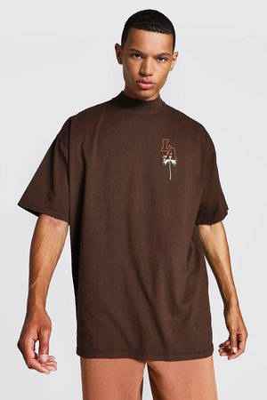 Boohoo Men Short Sleeve - Mens Chocolate Tall Oversized La T-shirt With Extended Neck