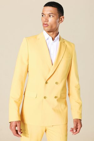 Boohoo Men Blazers - Mens Mustard Tall Skinny Double Breasted Blazer