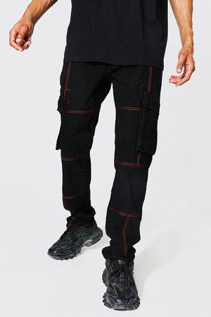 Boohoo Men Straight - Mens Tall Straight Leg Jean With Contrast Stitch