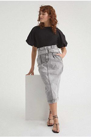 WITCHERY Belted Longline Denim Skirt