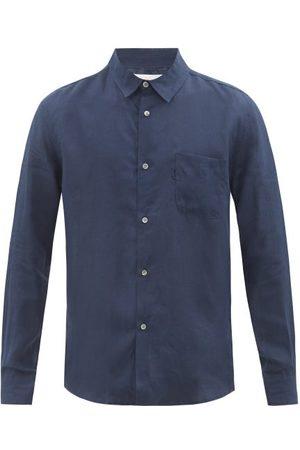 DEREK ROSE Monaco Linen Shirt - Mens - Navy
