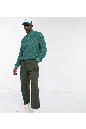 ASOS Wide leg pants with pleats in -Green
