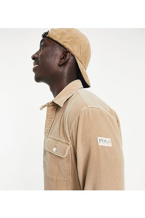 Polo Ralph Lauren Men Casual - X ASOS exclusive collab cord overshirt in tan with pockets and arm tab logo