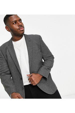 ASOS Wedding skinny wool mix suit jacket in herringbone-Grey