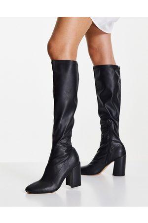 London Rebel Over the knee sock boots in black