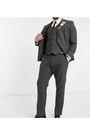 ASOS Wedding skinny wool mix suit pants in herringbone-Grey