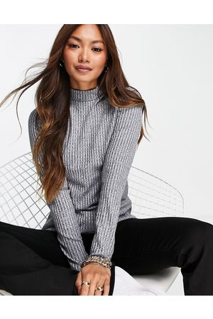 Whistles Wide rib high-neck top in grey marle