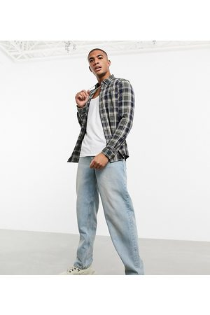 ASOS Stretch slim check shirt in and navy-Green