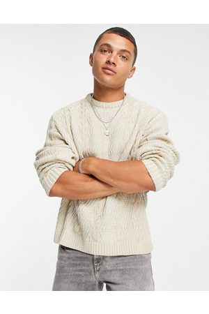 ASOS Oversized plaited cable knit jumper in -Neutral