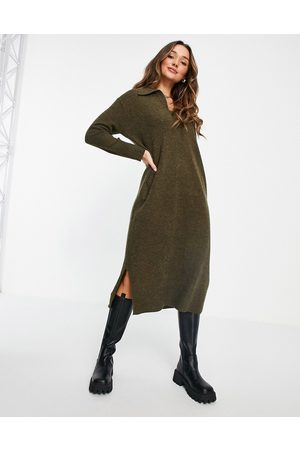 Whistles Knitted midi dress with collar in -Green