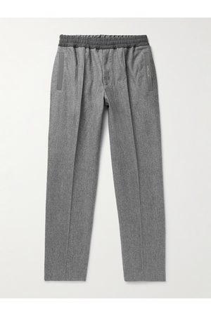 Moncler Men Chinos - Tapered Virgin Wool-Flannel Drawstring Trousers