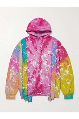 Pins & Needles Men Hoodies - Paint-Detailed Tie-Dyed Panelled Cotton-Blend Jersey Hoodie