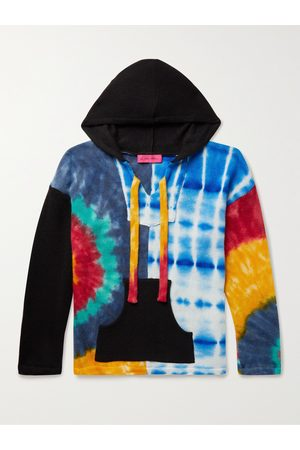 THE ELDER STATESMAN Men Sweaters - Patchwork Tie-Dyed Cashmere Hooded Sweater