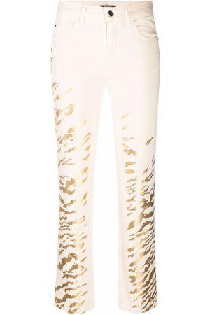 Roberto Cavalli Foiled zebra-print trousers