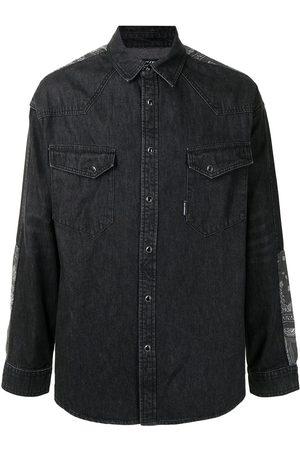 FIVE CM Panelled paisley denim shirt